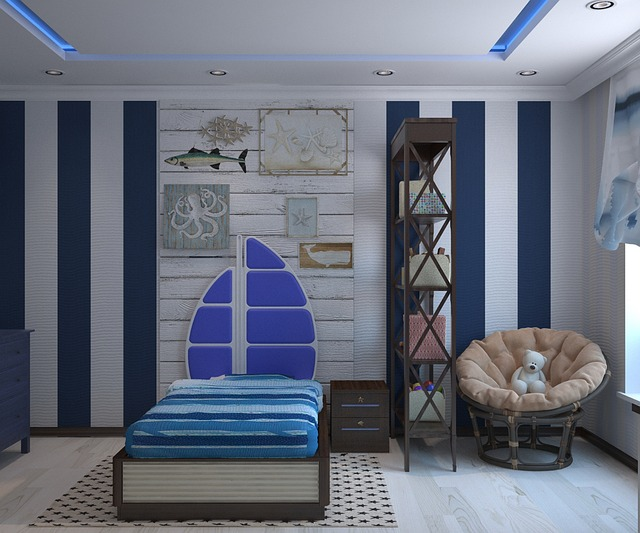 Boy's bedroom in nautical theme