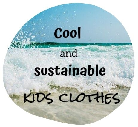 beach image with text overlay - cool and sustainable kids clothes