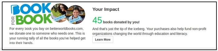 Screenshot of BetterWorldBooks account showing number of books donated